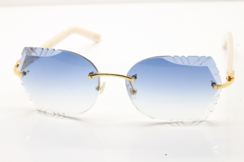 Cartier Rimless T8200762 White Aztec Arms Sunglasses In Gold Blue Lens