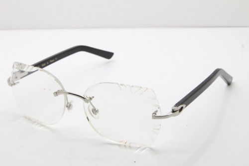 Cartier Rimless T8200762 Black Aztec Arms Sunglasses In Silver Clear Lens