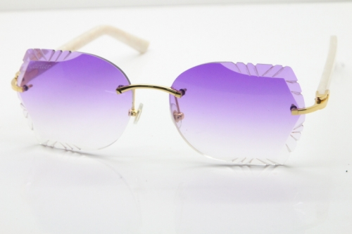 Cartier Rimless T8200762 White Aztec Arms Sunglasses In Gold Purple Lens