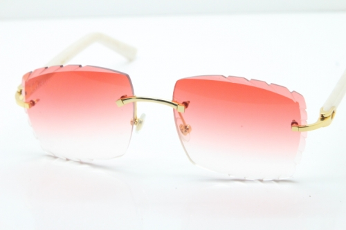 Cartier Rimless 8300816 White Aztec Arms Sunglasses In Gold Red Lens