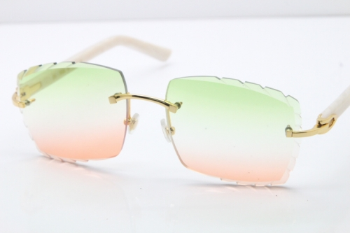Cartier Rimless 8300816 White Aztec Arms Sunglasses In Gold Mix Green Pink Lens