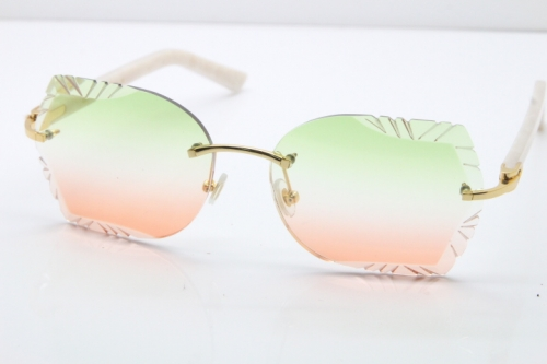 Cartier Rimless T8200762 White Aztec Arms Sunglasses In Gold Green Brown Lens