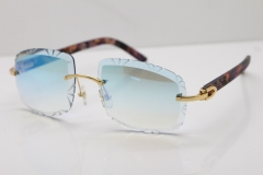 Cartier Rimless 8300816 Marble Purple Aztec Arms Sunglasses In Gold Blue Mirror Lens